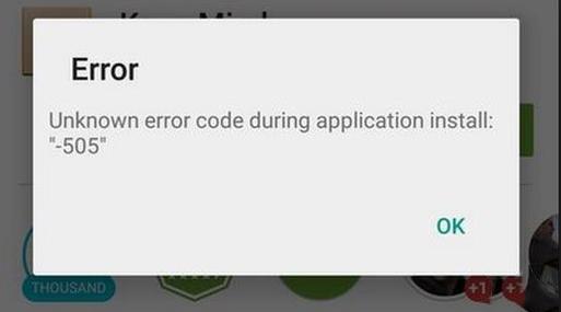 play store error 505